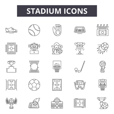Stadium line icons, signs, vector set, outline concept, linear illustration