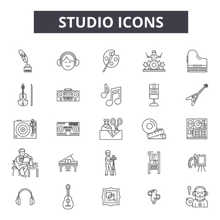 Studio line icons, signs, vector set, outline concept, linear illustration Standard-Bild - 122419716