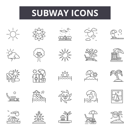 Subway line icons, signs, vector set, outline concept, linear illustration 일러스트