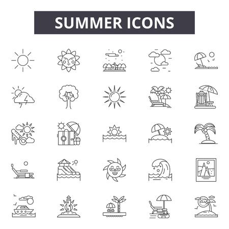 Summer line icons, signs, vector set, outline concept, linear illustration