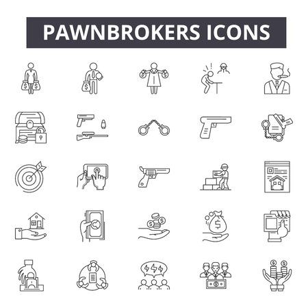 Icônes de ligne de prêteurs sur gages, signes, ensemble de vecteurs, concept de contour, illustration linéaire