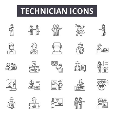 Icônes de ligne de technicien, signes, ensemble de vecteurs, concept de contour, illustration linéaire