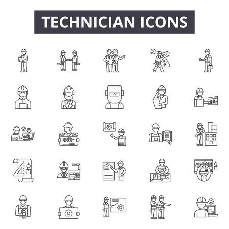 Technician line icons, signs, vector set, outline concept, linear illustration