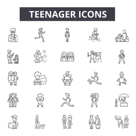Teenager line icons, signs, vector set, outline concept, linear illustration 写真素材 - 122419619