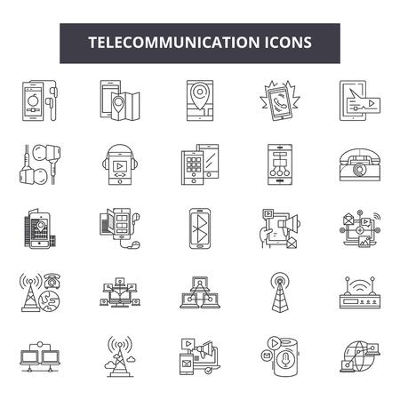 Iconos de línea de telecomunicaciones, signos, conjunto de vectores, concepto de esquema, ilustración lineal Ilustración de vector