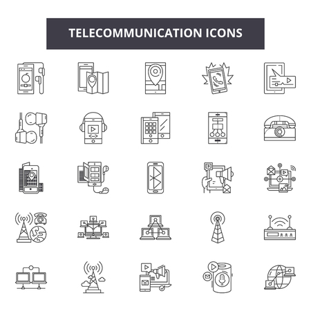 Telecommunication line icons, signs, vector set, outline concept, linear illustration Illustration