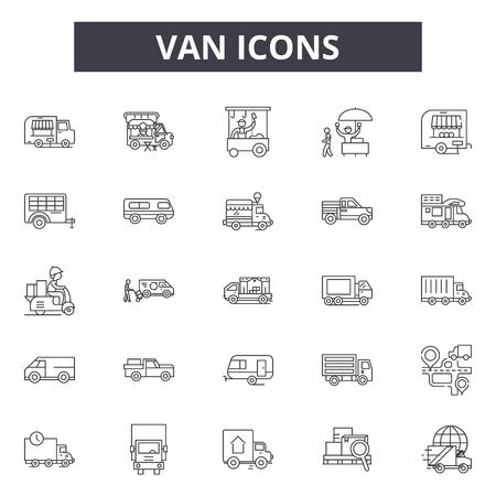 Linea Van icone, segni, set di vettore, concetto di contorno, illustrazione lineare