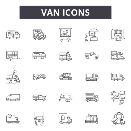 Van line icons, signs, vector set, outline concept, linear illustration