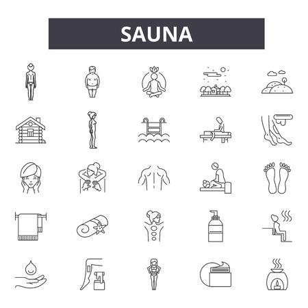 Sauna line icons, signs, vector set, outline concept, linear illustration