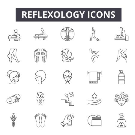 Ikony linii refleksologii, znaki, wektor zestaw, koncepcja konspektu, ilustracja liniowa Ilustracje wektorowe