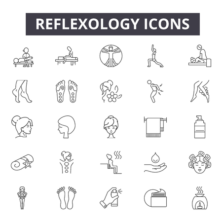 Reflexology line icons, signs, vector set, outline concept, linear illustration