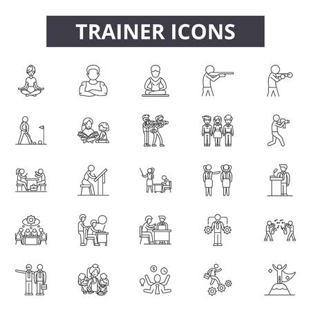 Linea trainer icone, segni, set di vettore, concetto di contorno, illustrazione lineare Vettoriali
