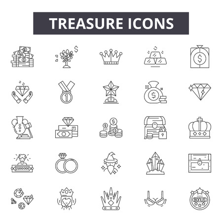 Treasure line icons, signs, vector set, outline concept, linear illustration