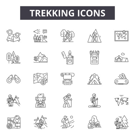 Trekking line icons, signs, vector set, outline concept, linear illustration