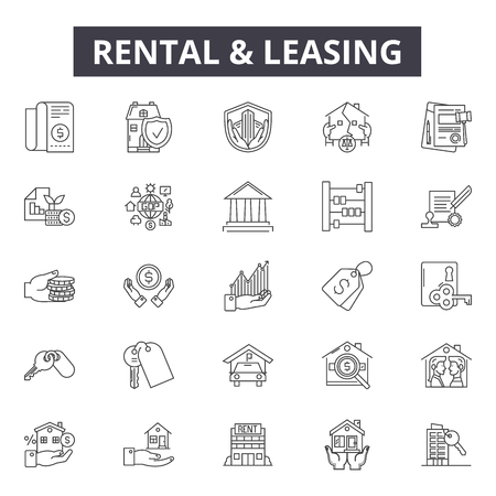 Rental & leasing line icons, signs, vector set, outline concept, linear illustration