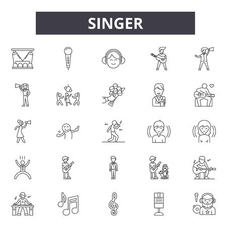 Singer line icons, signs, vector set, outline concept, linear illustration