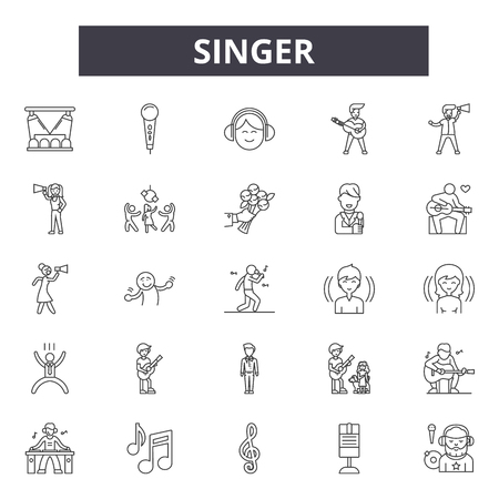 Singer line icons, signs, vector set, outline concept, linear illustration