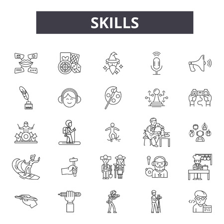 Skills line icons, signs, vector set, outline concept, linear illustration