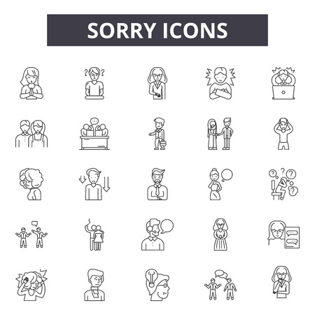 Sorry line icons, signs, vector set, outline concept, linear illustration