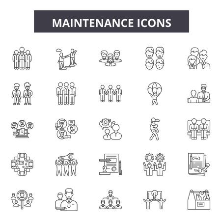 Maintenance line icons, signs, vector set, outline concept, linear illustration