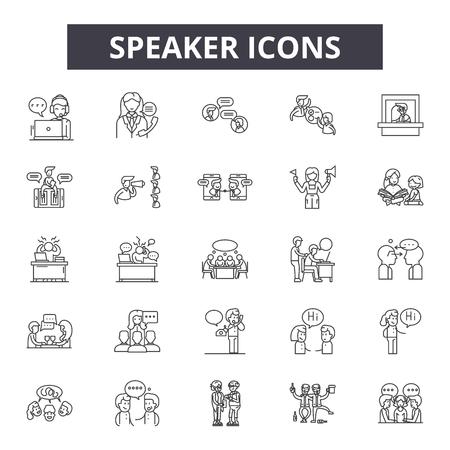 Iconos de línea de altavoz, signos, conjunto de vectores, concepto de esquema, ilustración lineal Ilustración de vector