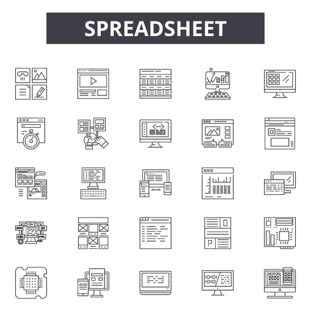 Spreadsheet line icons, signs, vector set, outline concept, linear illustration