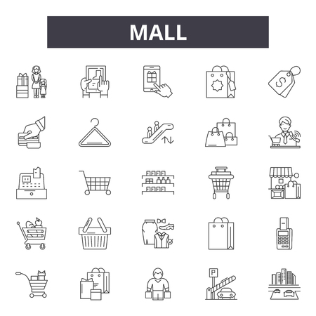 Mall line icons, signs, vector set, outline concept, linear illustration