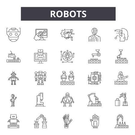 Robots line icons, signs, vector set, outline concept, linear illustration Ilustração