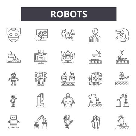 Robots line icons, signs, vector set, outline concept, linear illustration Illustration