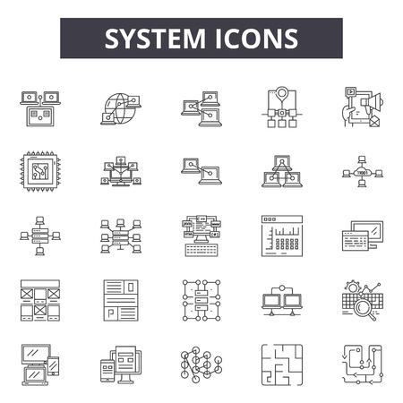 System line icons, signs, vector set, outline concept, linear illustration Illustration