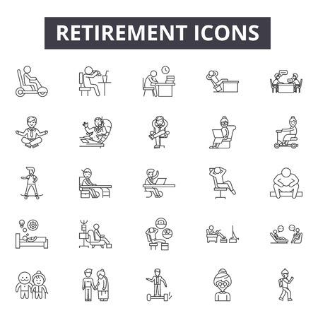Iconos de línea de jubilación, signos, conjunto de vectores, concepto de esquema, ilustración lineal