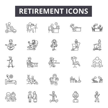 Retirement line icons, signs, vector set, outline concept, linear illustration