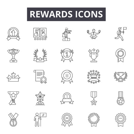 Rewards line icons, signs, vector set, outline concept, linear illustration Vector Illustration