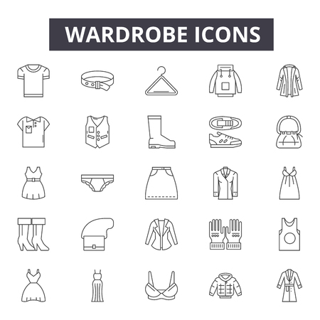 Wardrobe line icons, signs, vector set, outline concept, linear illustration