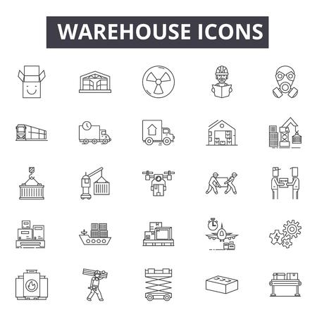 Icônes de ligne d'entrepôt, signes, ensemble de vecteurs, concept de contour, illustration linéaire Vecteurs