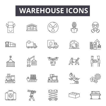 Warehouse line icons, signs, vector set, outline concept, linear illustration