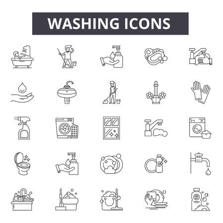 Icônes de ligne de lavage, signes, ensemble de vecteurs, concept de contour, illustration linéaire