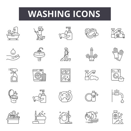 Washing line icons, signs, vector set, outline concept, linear illustration