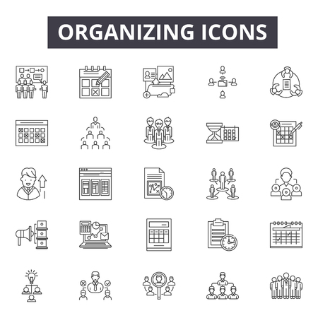 Icônes de ligne d'organisation, signes, ensemble de vecteurs, concept de contour, illustration linéaire Vecteurs