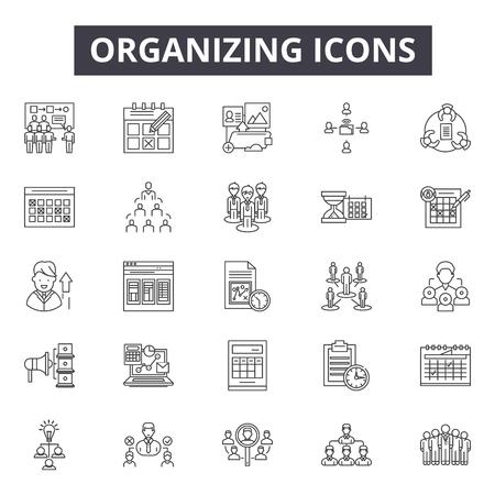 Organizing line icons, signs, vector set, outline concept, linear illustration Illustration