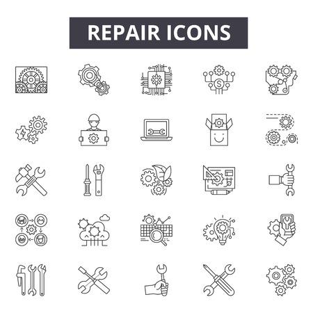 Reparación de iconos de línea, signos, conjunto de vectores, concepto de esquema, ilustración lineal
