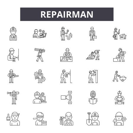 Iconos de línea de reparador, signos, conjunto de vectores, concepto de esquema, ilustración lineal Ilustración de vector