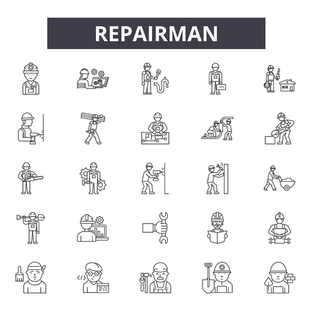 Repairman line icons, signs, vector set, outline concept, linear illustration