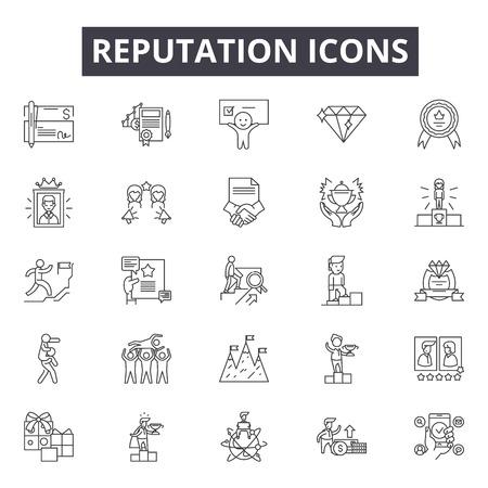 Reputatielijnpictogrammen, tekens, vectorreeks, lineair concept, overzichtsillustratie