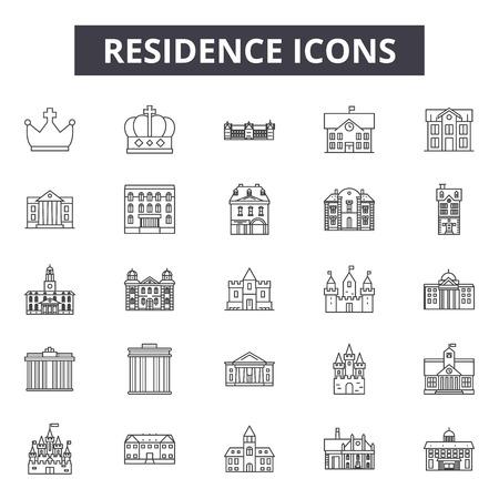 Icônes de ligne de résidence, signes, ensemble de vecteurs, concept de contour, illustration linéaire Vecteurs