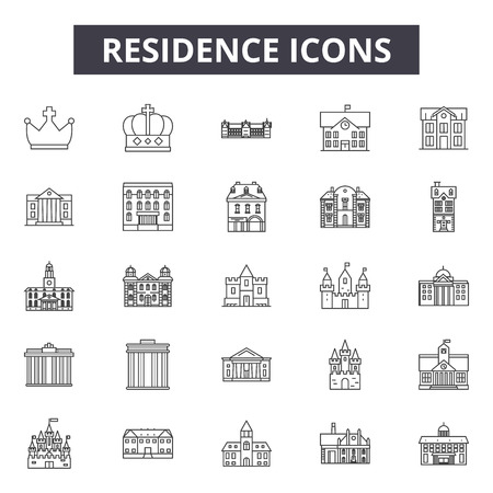 Residence line icons, signs, vector set, outline concept, linear illustration Illustration