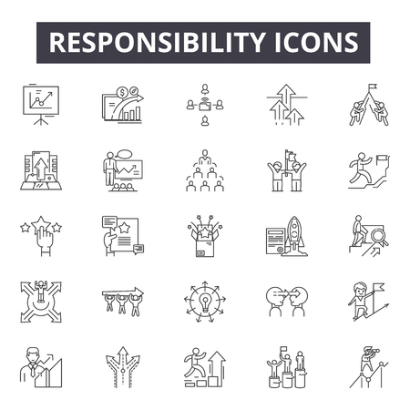 Icônes de ligne de responsabilité, signes, ensemble de vecteurs, concept linéaire, illustration de contour