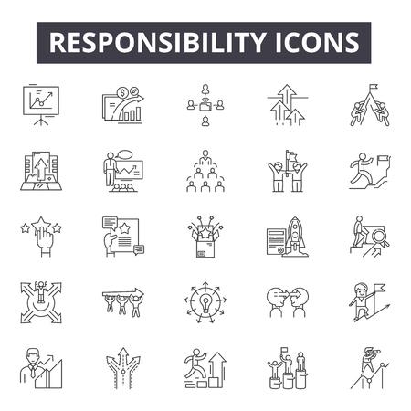 Verantwoordelijkheidslijnpictogrammen, tekens, vectorreeks, lineair concept, overzichtsillustratie