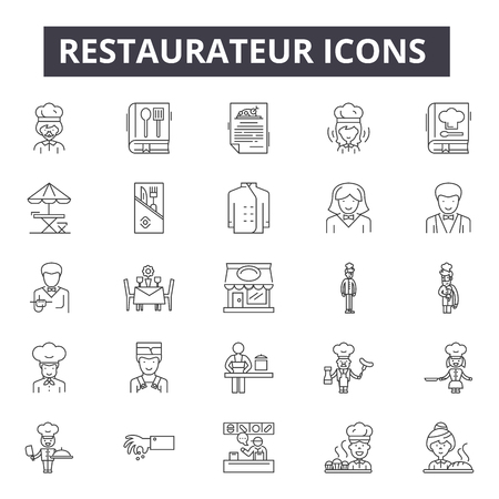 Restaurateur line icons, signs, vector set, linear concept, outline illustration