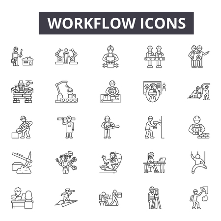Workflow line icons, signs, vector set, outline concept, linear illustration
